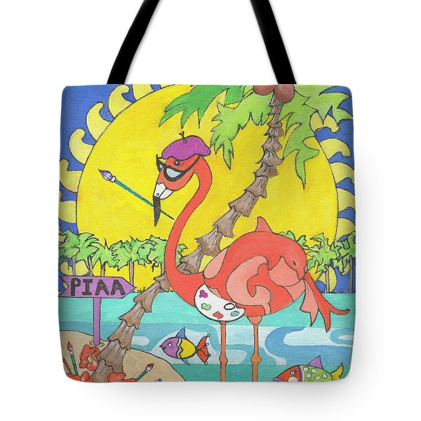 Tote Bag featuring the painting Pia The Flamboyant Flamingo by Rosemary Aubut