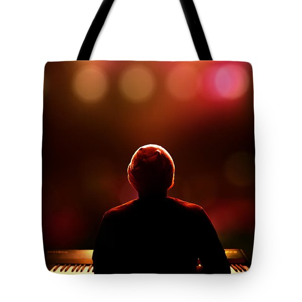 Pianist On Stage From Behind Tote Bag