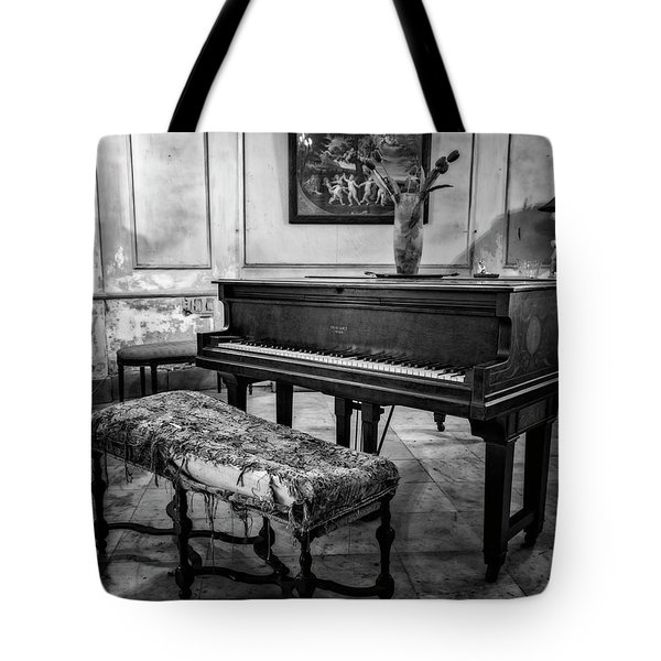 Tote Bag featuring the photograph Piano At Josie's House Bw by Joan Carroll