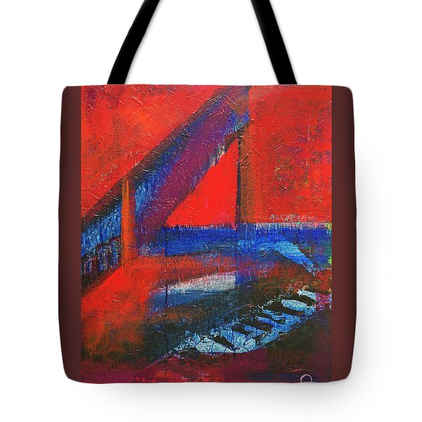 Tote Bag featuring the painting Piano In The Red Room by Walter Fahmy