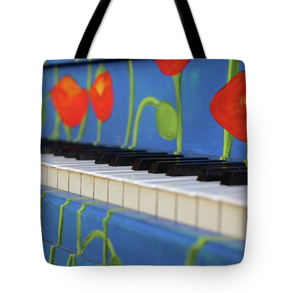 Piano Keys And Flowers Tote Bag