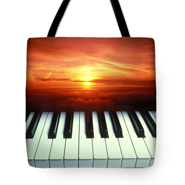 Piano Keys Sunset Tote Bag by Garry Gay