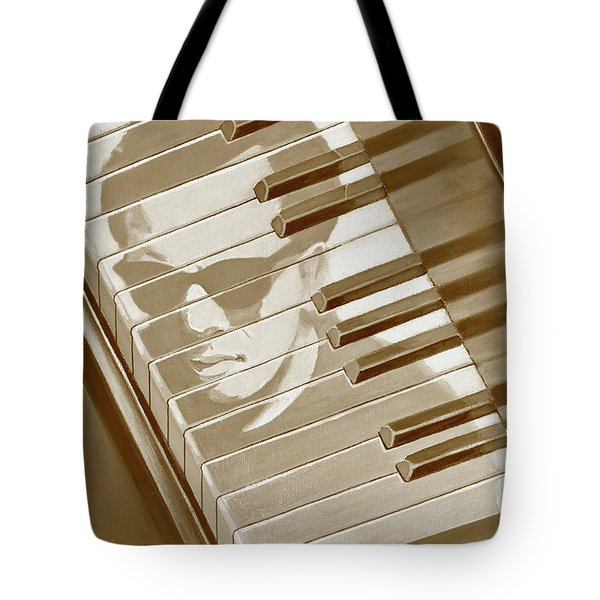 Tote Bag featuring the painting Piano Man In Sepia by J L Meadows