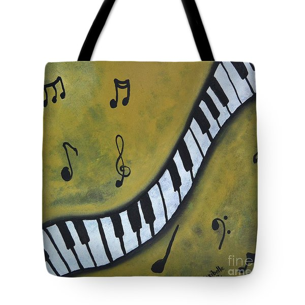 Piano Music Abstract Art By Saribelle Tote Bag by Saribelle Rodriguez