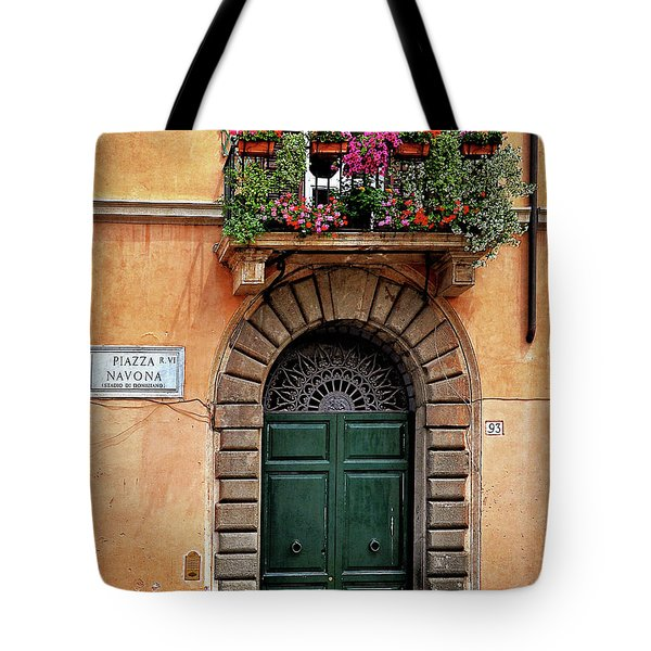 Tote Bag featuring the photograph Piazza Navona House by Marion McCristall