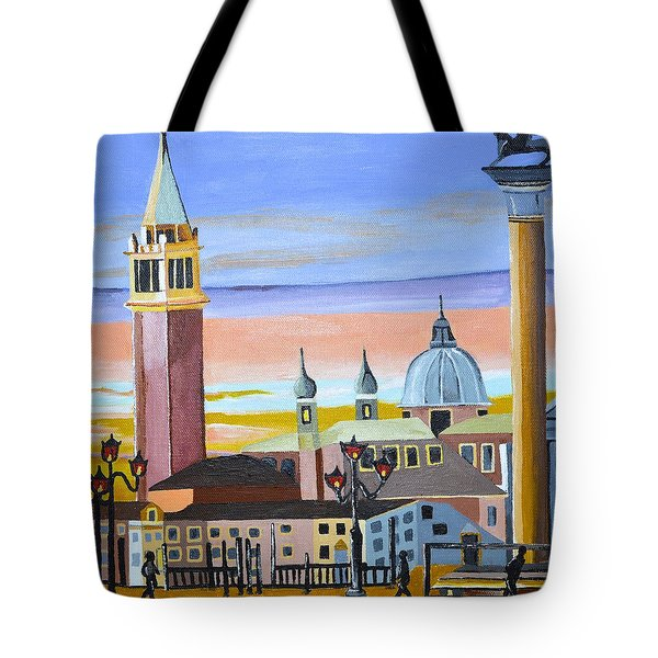 Tote Bag featuring the painting Piazza San Marco by Donna Blossom