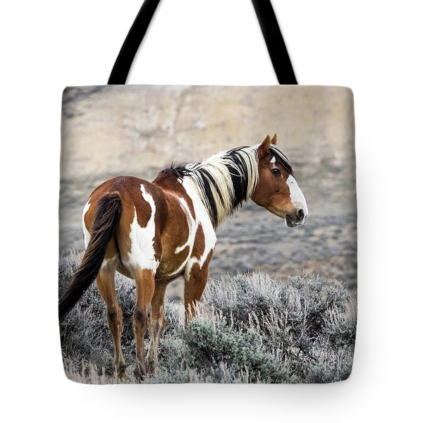 Picasso - Wild Mustang Stallion Of Sand Wash Basin Tote Bag by Nadja Rider