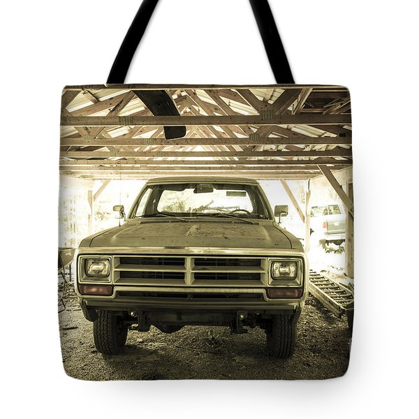 Pick Up Truck In Rural Farm Setting Tote Bag
