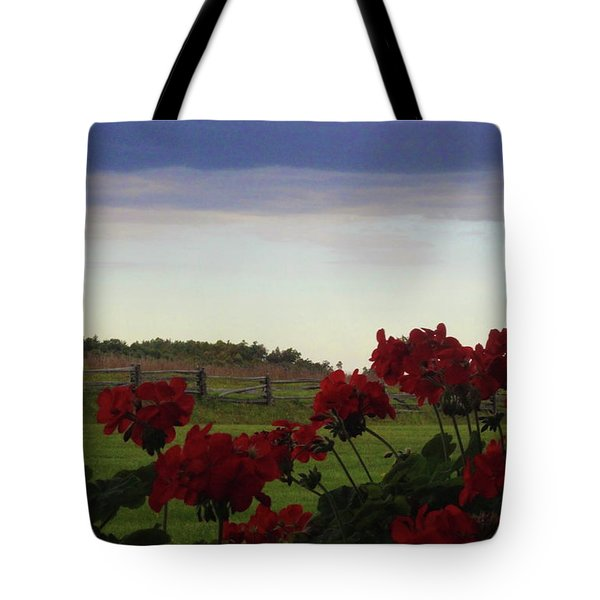 Picket Fence, Flowers And Storms Tote Bag