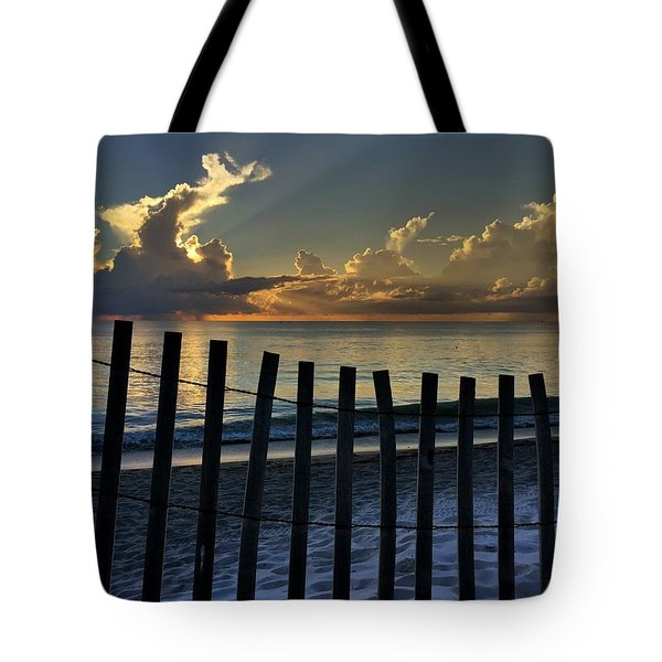 Picket Fence On The Beach Tote Bag