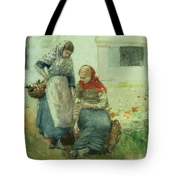 Picking Flowers Tote Bag by Winslow Homer