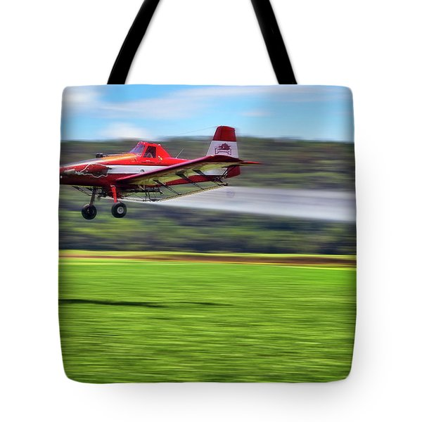Picking It Up And Putting It Down - Crop Duster - Arkansas Razorbacks Tote Bag by Jason Politte
