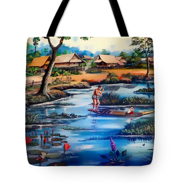 Picking Lotus Flowers Tote Bag by Ian Gledhill