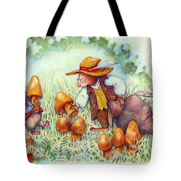 Picking Mushrooms Tote Bag by Peggy Wilson