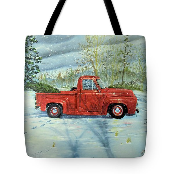 Picking Up The Christmas Tree Tote Bag