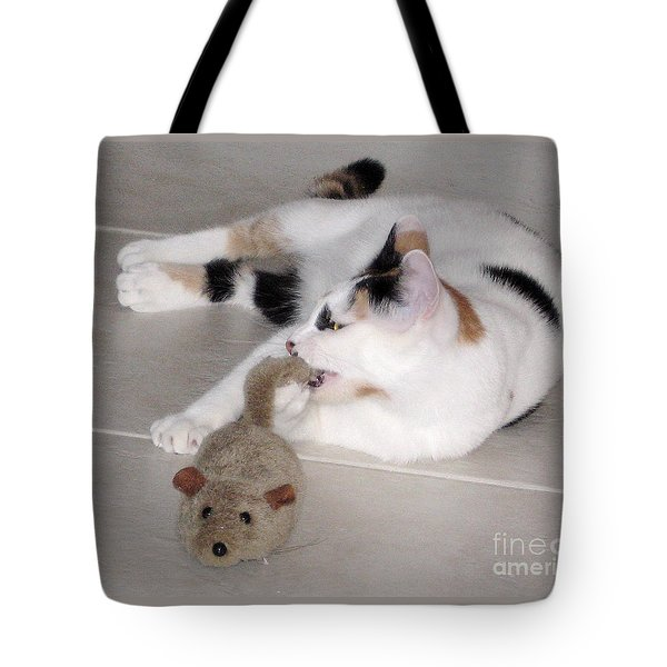 Tote Bag featuring the photograph Pico And Toy Mouse by Phyllis Kaltenbach