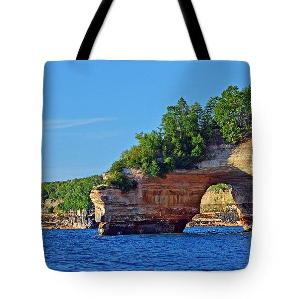 Tote Bag featuring the photograph Pictured Rocks by Rodney Campbell