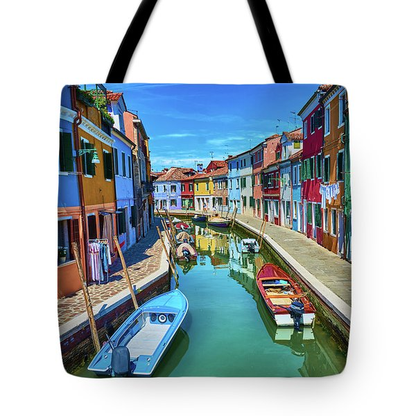 Picturesque Buildings And Boats In Burano Tote Bag