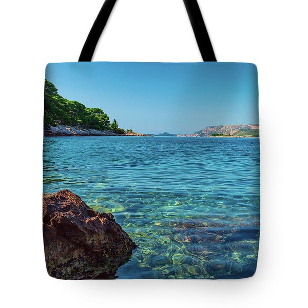 Picturesque Croatia Offers Tourists Pristine Beaches Of The Adriatic, Surrounded By Pine Trees And R Tote Bag