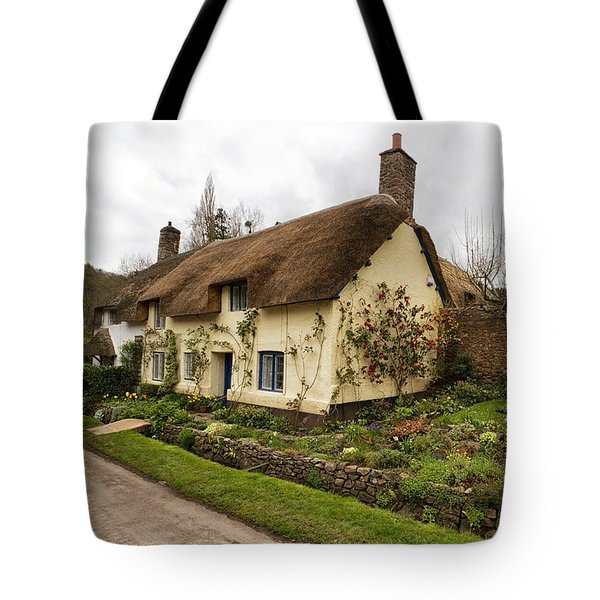 Picturesque Dunster Cottage Tote Bag by Shirley Mitchell