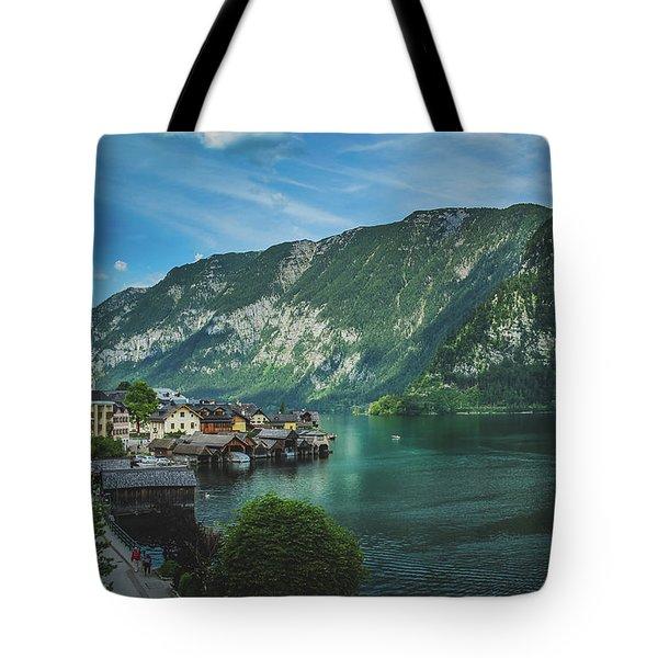 Picturesque Hallstatt Village Tote Bag