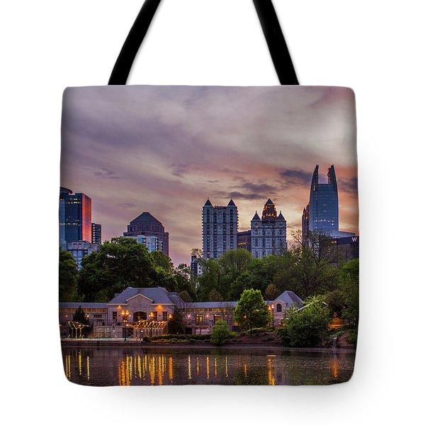 Tote Bag featuring the photograph Piedmont Park Midtown Atlanta Sunset Art by Reid Callaway