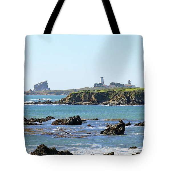 Tote Bag featuring the photograph Piedras Blancas Lighthouse by Art Block Collections