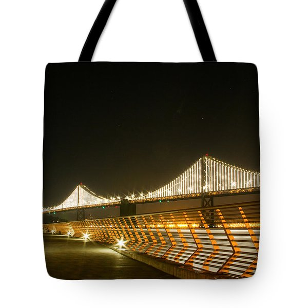 Pier 14 And Bay Bridge Lights Tote Bag