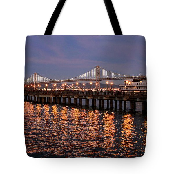Pier 7 And Bay Bridge Lights At Sunset Tote Bag