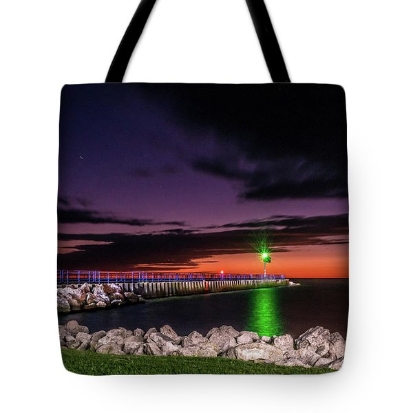 Tote Bag featuring the photograph Pier And Lighthouse by Lester Plank