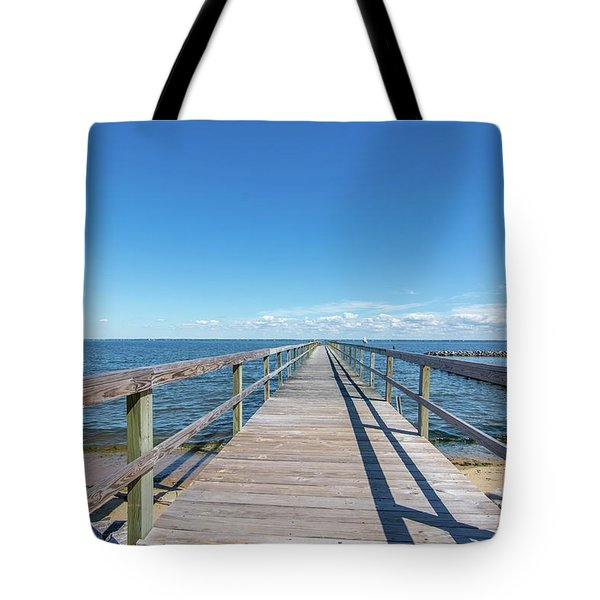Tote Bag featuring the photograph Pier At Highland Beach by Charles Kraus