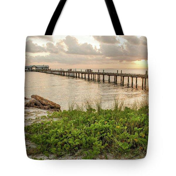 Pier At Sunrise Tote Bag