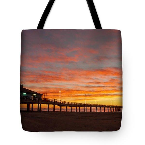 Pier At Sunrise Port Aransas Tx Tote Bag
