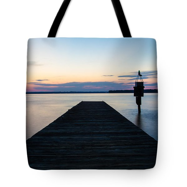 Pier At Sunset 16x20 Tote Bag