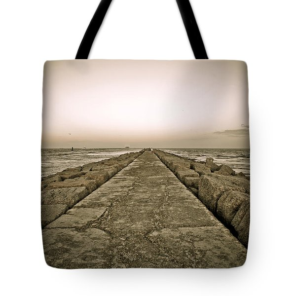 Pier At Sunset Tote Bag by Marilyn Hunt