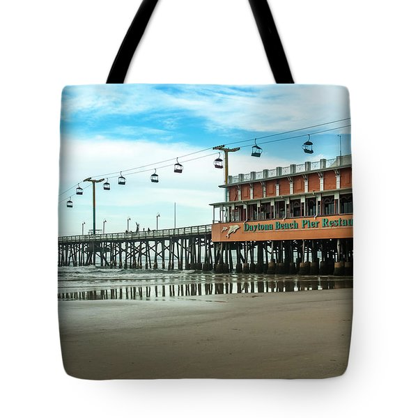 Pier Daytona Beach Tote Bag by Carolyn Marshall