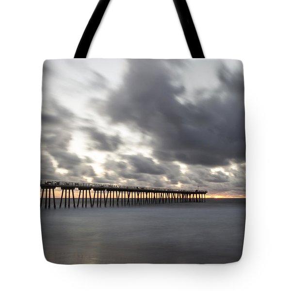 Pier In Misty Waters Tote Bag