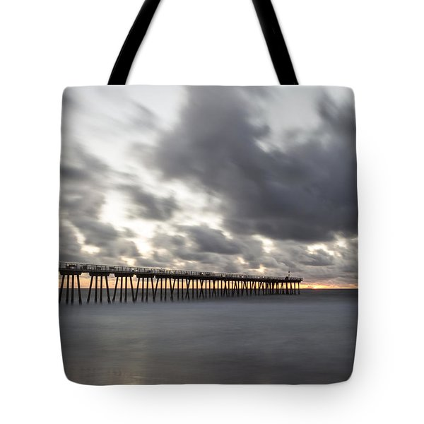 Pier In Misty Waters Tote Bag