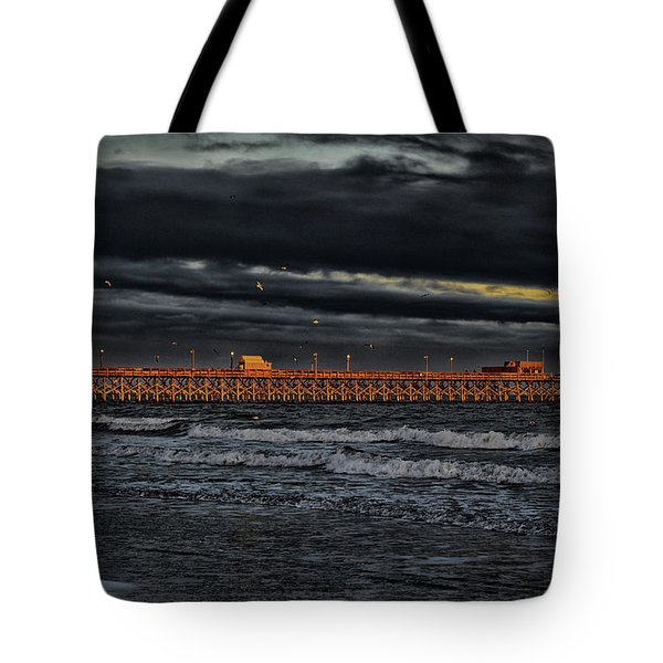 Tote Bag featuring the photograph Pier Into Darkness by Kelly Reber