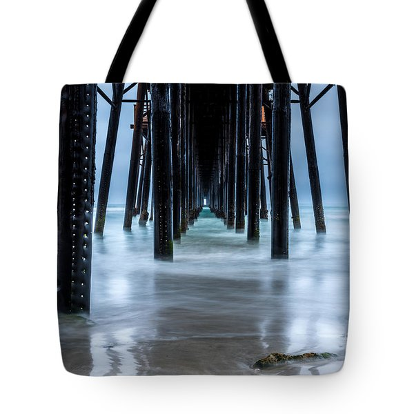 Pier Into The Ocean Tote Bag by Leo Bounds