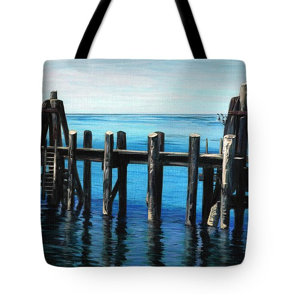 Tote Bag featuring the painting Pier by Jason Girard