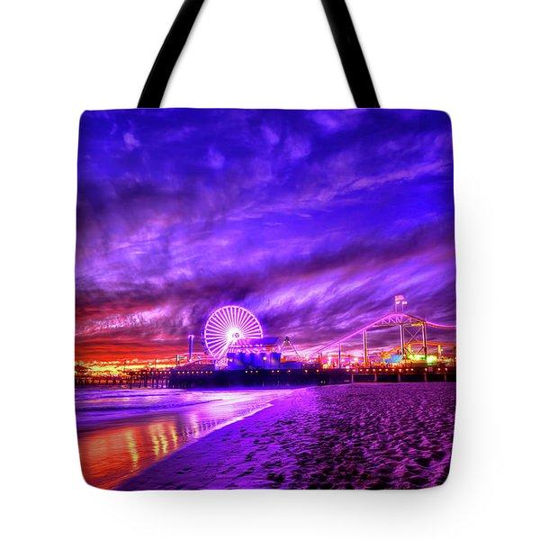 Pier Of Lights Tote Bag by Midori Chan