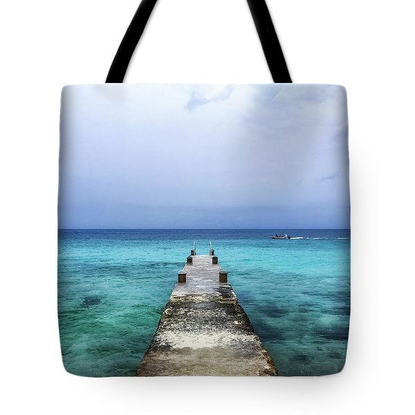 Pier On Caribbean Sea With Boat Tote Bag
