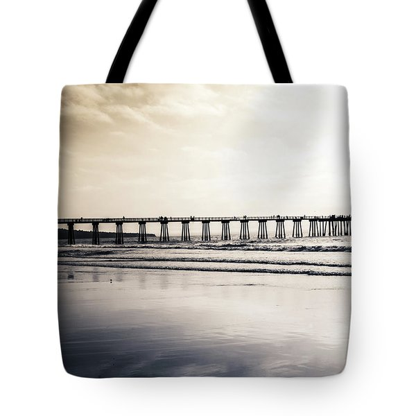 Tote Bag featuring the photograph Pier On Duotone by Michael Hope