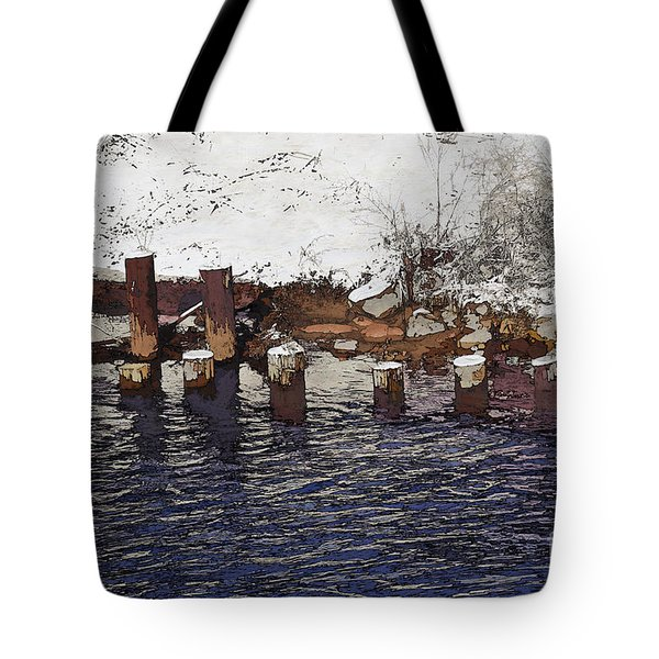 Tote Bag featuring the digital art Pier Piles by David Blank