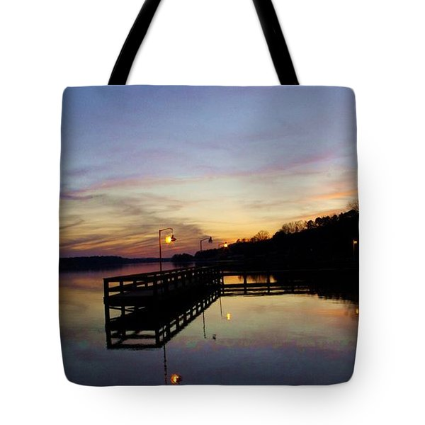 Pier Silhouetted In The Sunset On The Coosa River Tote Bag