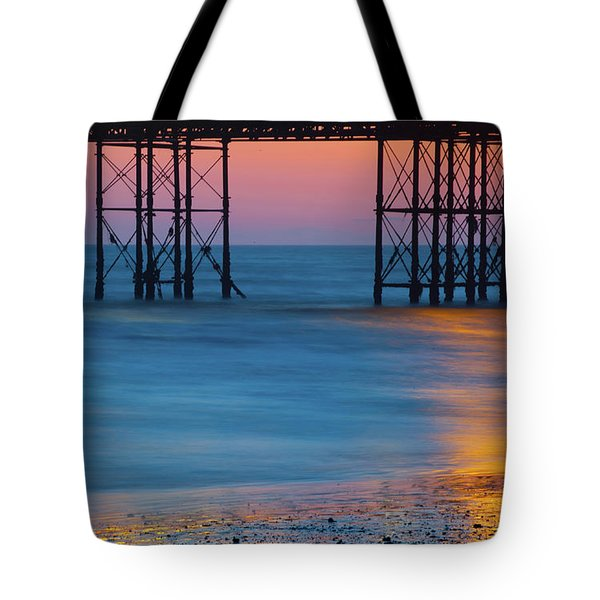 Pier Supports At Sunset I Tote Bag