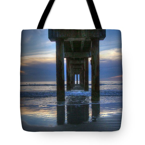 Pier View At Dawn Tote Bag