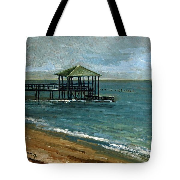 Tote Bag featuring the painting Pier With The Green Roof by Suzanne McKee