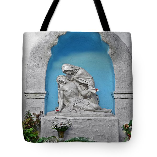 Tote Bag featuring the photograph Pieta Garden Mission Diego De Alcala by Christine Till